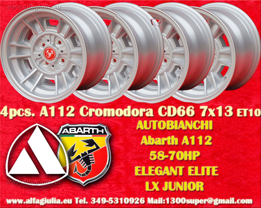 Autobianchi Cromodora CD66 A112 58/70HP ELEGANT ELITE LX JUNIOR  7x13 ET10 4x98 c/b 58.6 mm Wheel