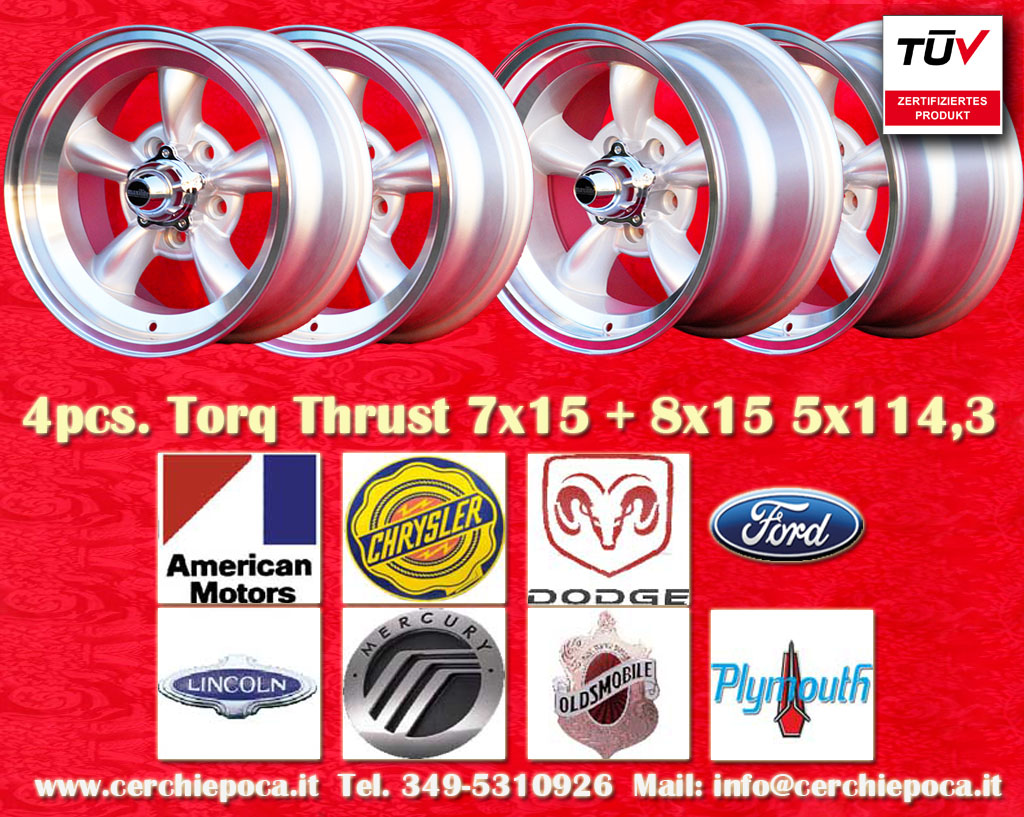 Lincoln Torq Thrust Lincoln Mark IV, Mark III, Mark V, Mark VI, Mark VII 1970-73  8x15 ET0 5x114.3 c/b 83.1 mm Wheel
