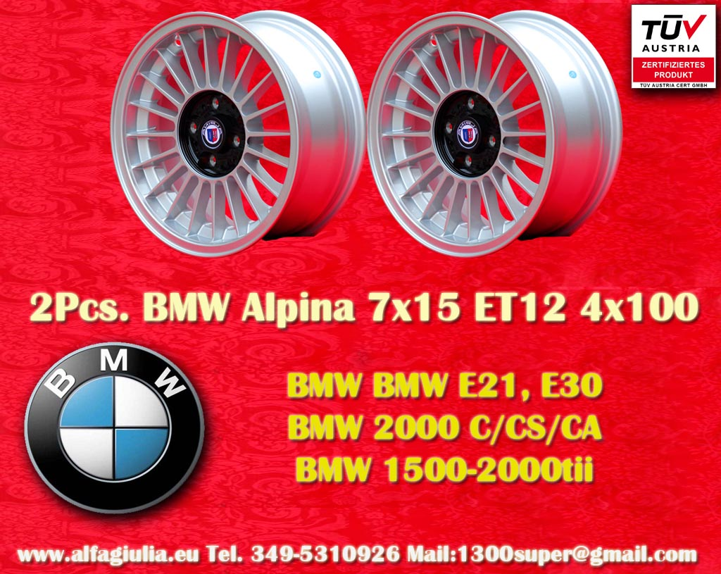 BMW Alpina BMW 1502 2002tii Serie 3 E21 E30 2000 C CS CA New BMW 1500 2000  7x15 ET12 4x100 c/b 57.1 mm Wheel