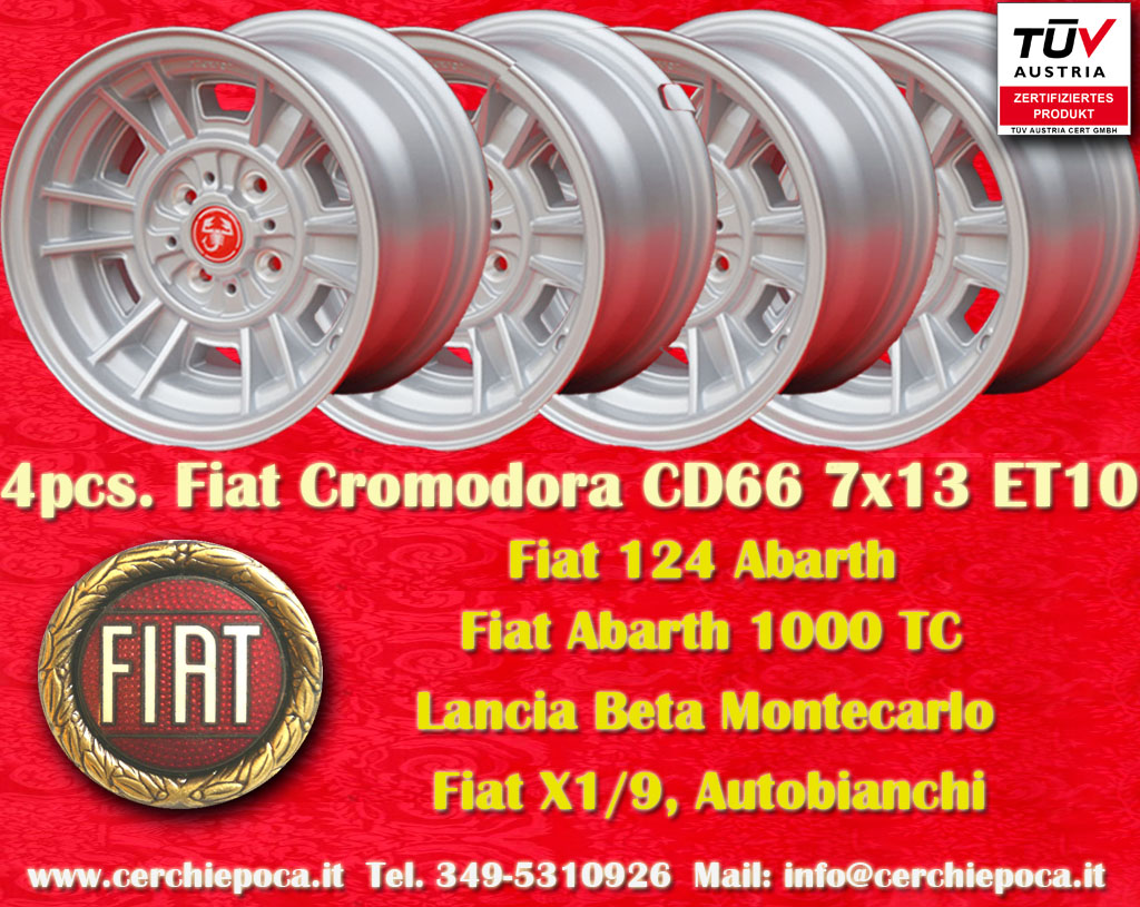 Fiat Cromodora CD66 Fiat 124 125 131 X1/9 Spider  7x13 ET10 4x98 c/b 58.6 mm Wheel
