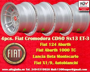Fiat Cromodora CD80 Fiat 124 131 X1/9 Spider  8x13 ET-3 4x98 c/b 58.6 mm Wheel